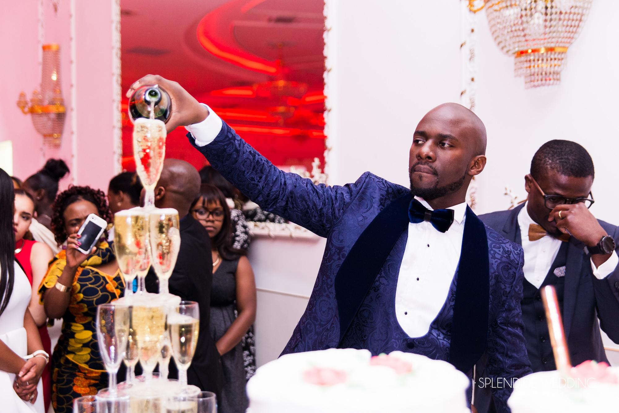 Photographe mariage Paris 19ème Darius fait couler le champagne