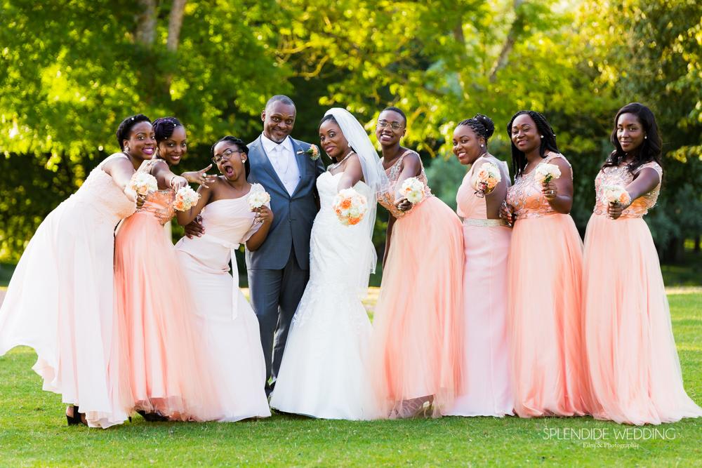 photographe mariage seine et marne photo des mariés et demoiselles d'honneur
